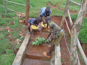The Water Project : 35-kenya4720-children-cleaning-the-spring-area