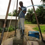 The Water Project: Rogbere Community -  Well Pad Construction