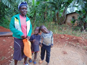 The Water Project:  Mercy Angeyo With Her Children At The Casted Sanitation Platform
