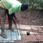 The Water Project: Visiru Community, Kitinga Spring -  Sanitation Platform Construction