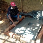 The Water Project: Igogwa Community -  Mr Benard Poses At His New Sanitation Platform