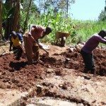 The Water Project: Nyira Community, Ondiek Spring -  Community Members Dig Trenches