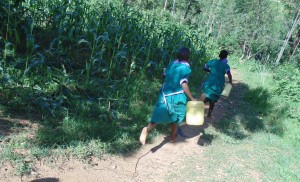 The Water Project:  Girls Rushing To Fetch Water
