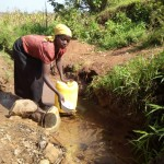 The Water Project: Timbito Community, Atechere Spring -  Fetching Water