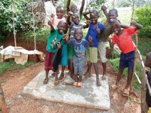 The Water Project : 35-kenya4719-a-welcome-smile-for-the-latrine-slab