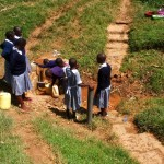 The Water Project: St. Antony Shijiko Primary School -  Fetching Water From The Spring