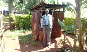 The Water Project:  Mr Zephan Adanji At His Latrine