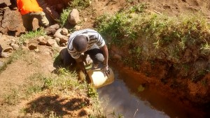 The Water Project:  Mr Columba Fetching Water For Construction