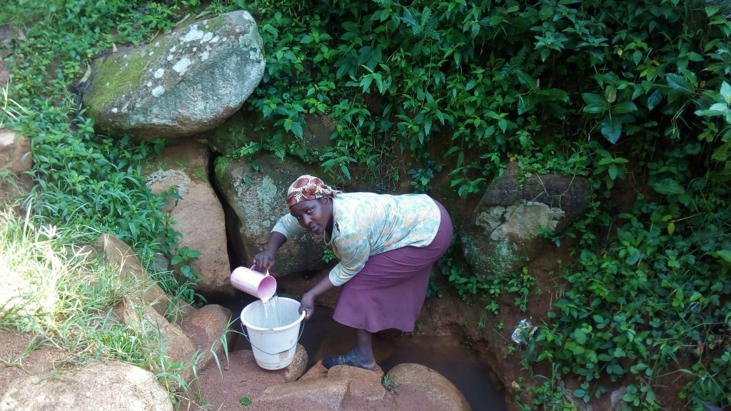 The Water Project : 4-kenya4854-mrs-sayo-scooping-water-at-the-spring