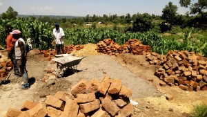 The Water Project:  Artisans Working On Latrine Foundation