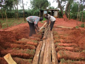 The Water Project:  Laying The Latrine Foundation