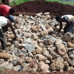The Water Project: Ebukanga Secondary School -  Stones Arranged For Tank Foundation