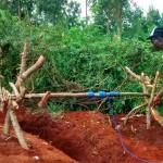 The Water Project: Essunza Primary School -  Community Men Sinking Latrine Pit