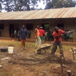 The Water Project: Eshilakwe Primary School -  Community Members Helping The Artisan