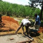 The Water Project: Shivagala Community, Paul Chengoli Spring -  Sanitation Platform Construction