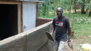 The Water Project:  Artisan Ogutu Working On The Latrines