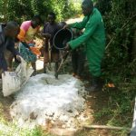 The Water Project: Matsakha A Community, Kombwa Spring -  Mixing Concrete