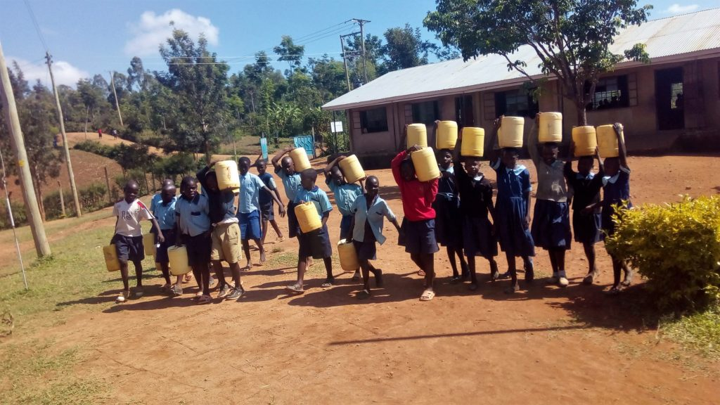 The Water Project : 13-kenya18043-students-with-their-water-containers