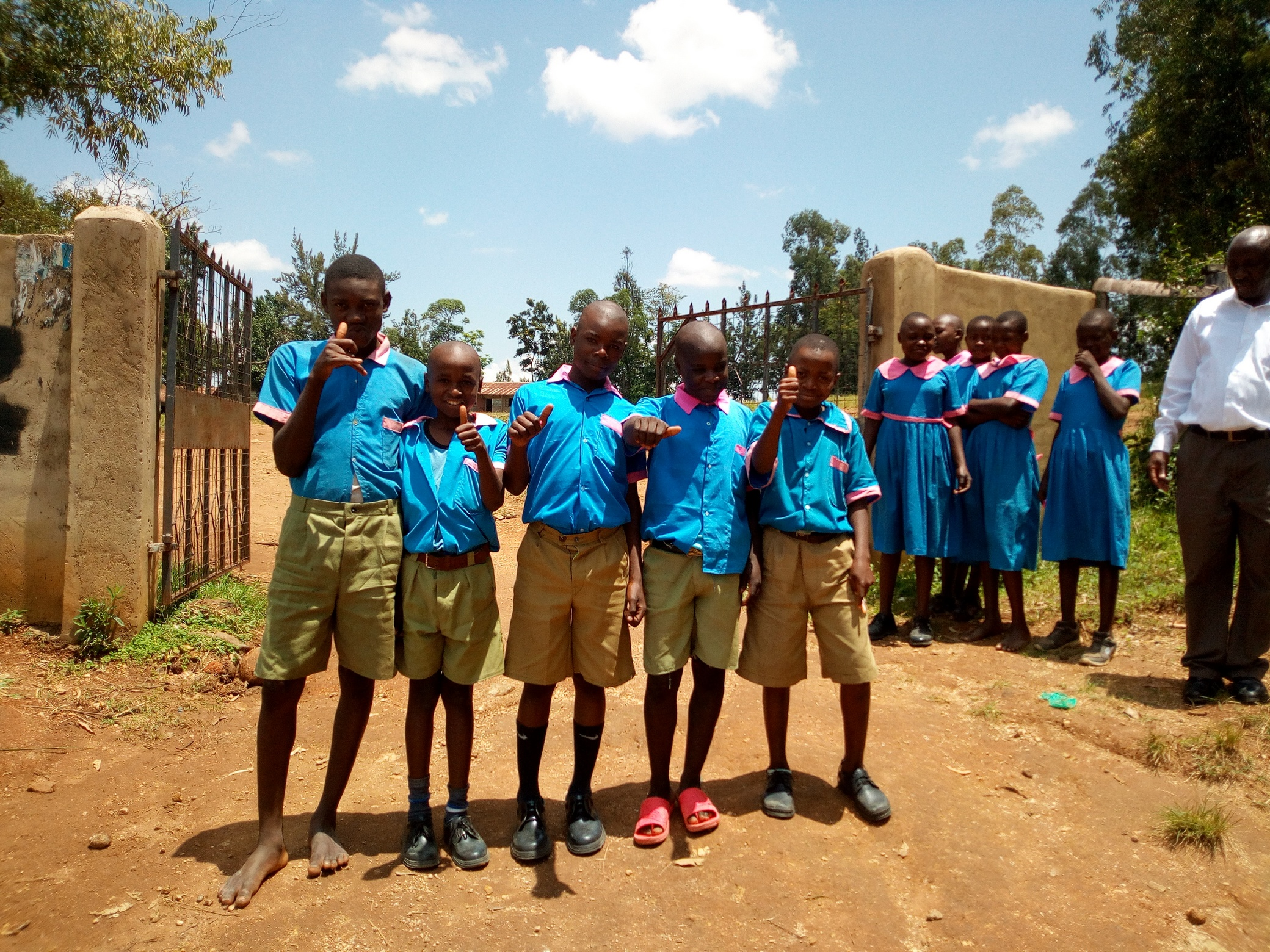 The Water Project : 2-kenya18040-students-posing-at-the-school-gate
