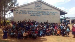 The Water Project:  Students Gathered Outside Classrooms