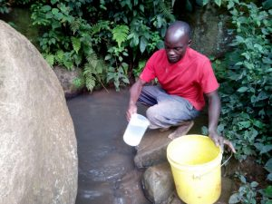 The Water Project:  Mr Itevete Fetching Water