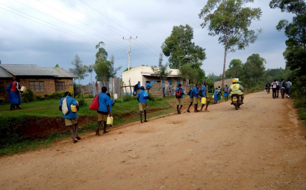 The Water Project : 4-kenya18060-students-going-back-to-their-communities-to-find-water-during-lunch