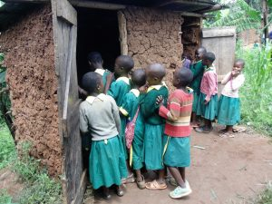 The Water Project:  Girls Queue For Latrines