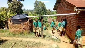 The Water Project:  Students At Rainwater Tank