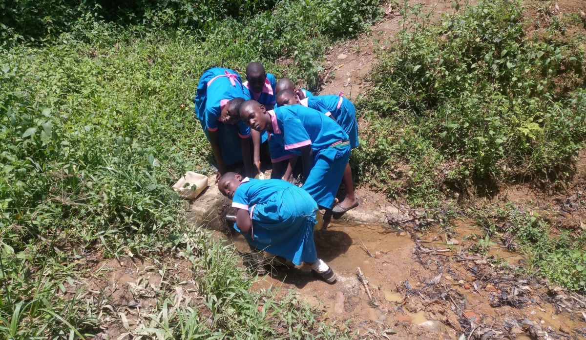 The Water Project : kenya18071-girls-at-spring