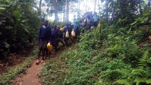 The Water Project:  Students Heading To Fetch Water At The Spring