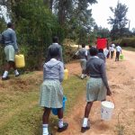 The Water Project: Precious School Kapsambo Secondary -  Students Bring Water Back To School