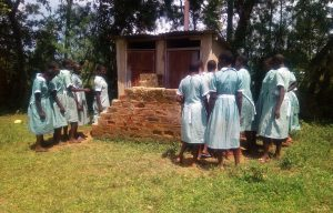 The Water Project:  Girls Congested At The Latrine During Break