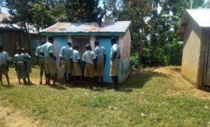 The Water Project:  Students In Front Of Latrine
