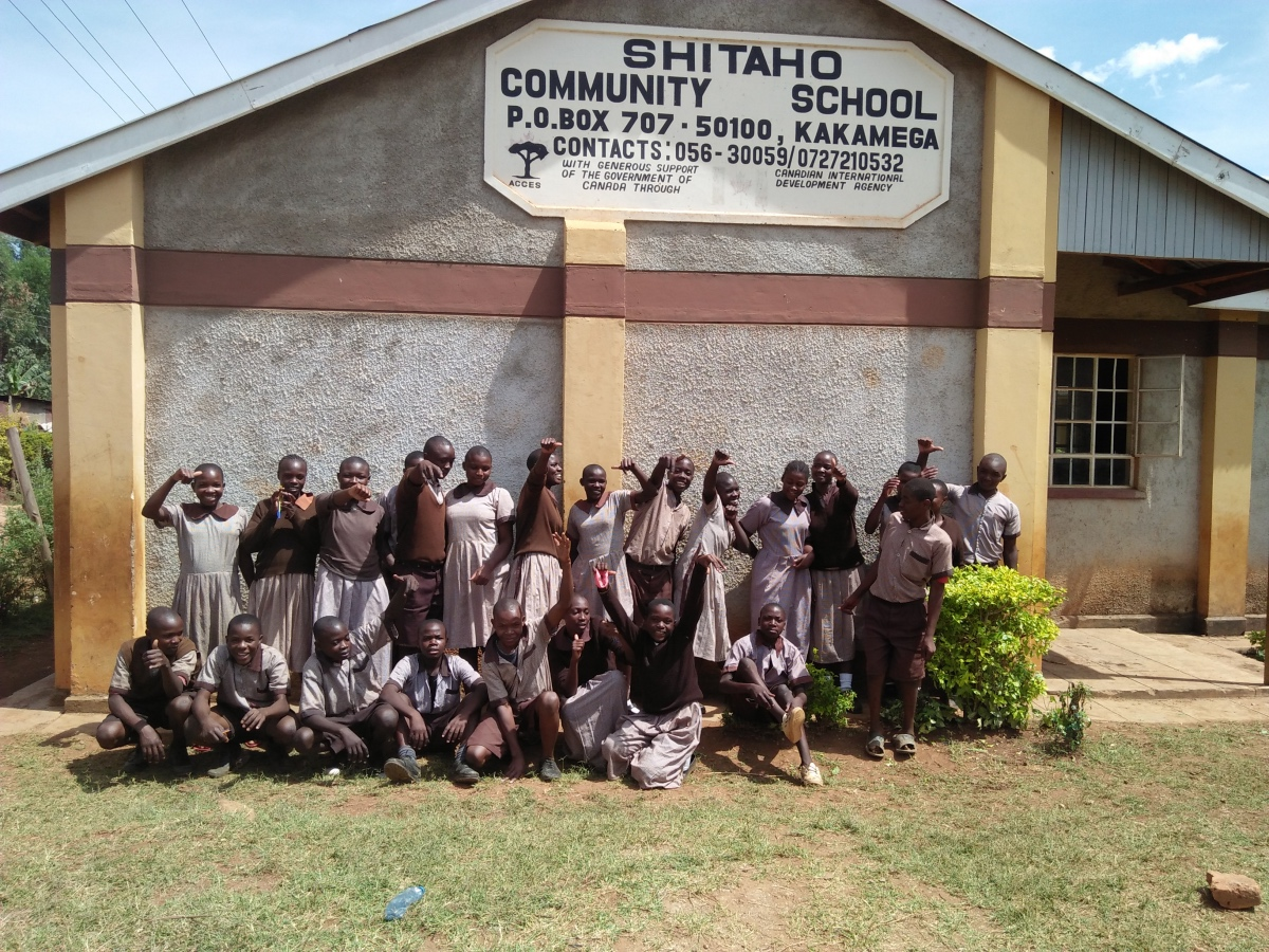The Water Project : kenya18081-silly-student-photo-in-front-of-school