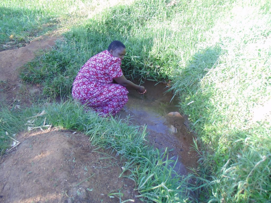The Water Project : kenya18135-fetching-water-at-the-spring
