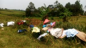 The Water Project:  Clothes Left To Dry On Bushes At The Spring