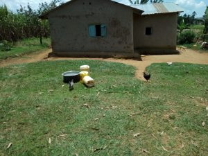 The Water Project:  Jerrycans Chickens And Pots In Yard