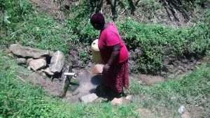The Water Project:  A Woman Fetching Water Atbthe Spring