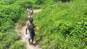 The Water Project:  Children From The Community Heading To The Spring
