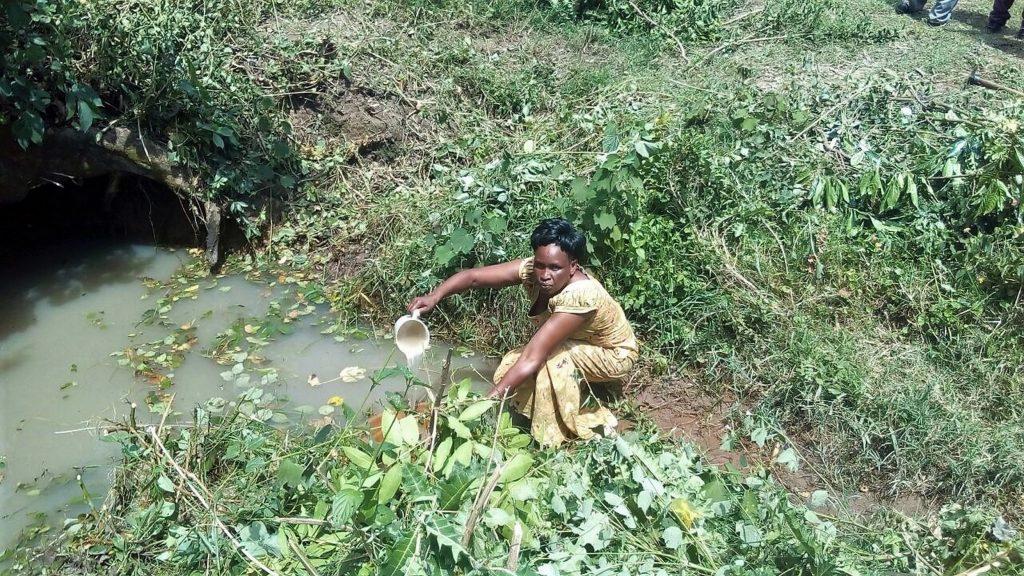 The Water Project : kenya18151-mary-mukhwana-fetching-water-at-the-spring