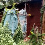 The Water Project: Asimuli Community, John Omusembi Spring -  Latrine Made With Old Mosquito Nets