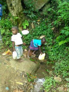 The Water Project:  Children Fetching Water At The Spring