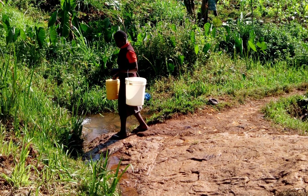 The Water Project : kenya18168-returning-home-with-buckets-filled-with-water