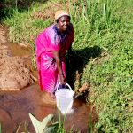 The Water Project: Irumbi Community A -  Woman Fetches Water At Shatsala Spring