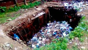 The Water Project:  Collapsed Pit Latrine