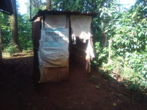 The Water Project:  Kenya Sample Latrine With Sacks As Doors