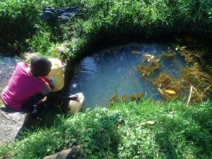 The Water Project:  Fetching Water At Okumu Spring