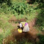 The Water Project: Irumbi Community, Okang'a Spring -  Woman Fills Jerrycan In Spring