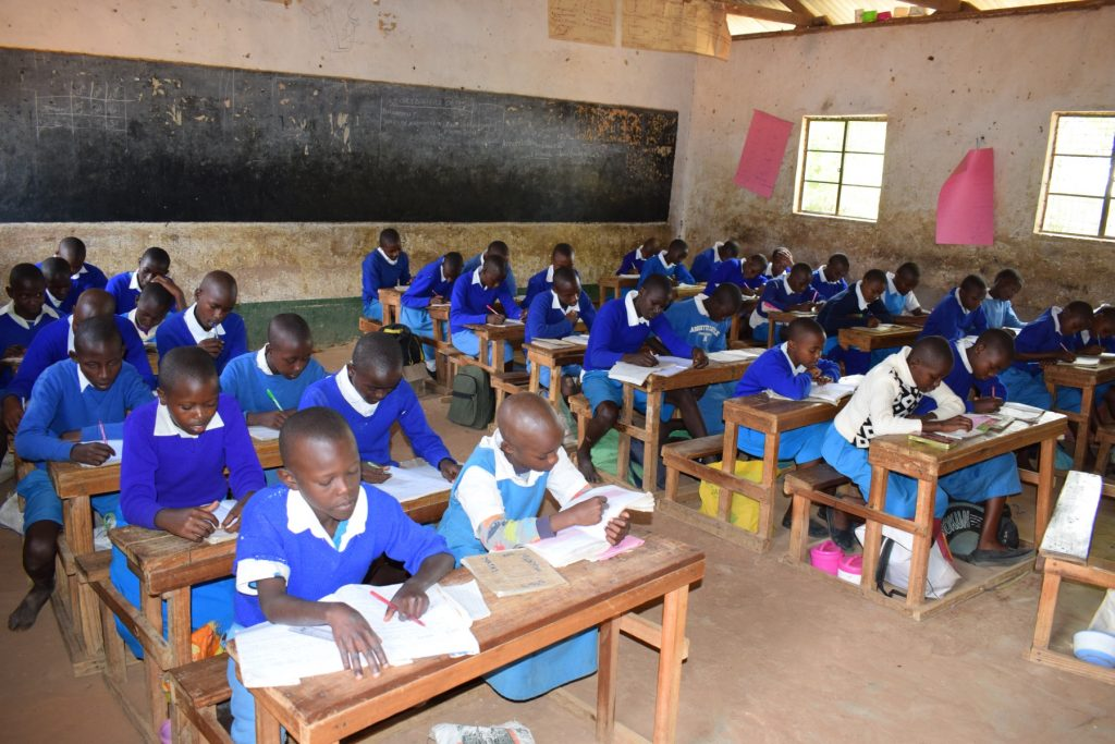 The Water Project : kenya18239-students-working-in-class