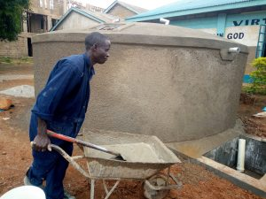 The Water Project:  Moving Cement To Continue Building The Tank